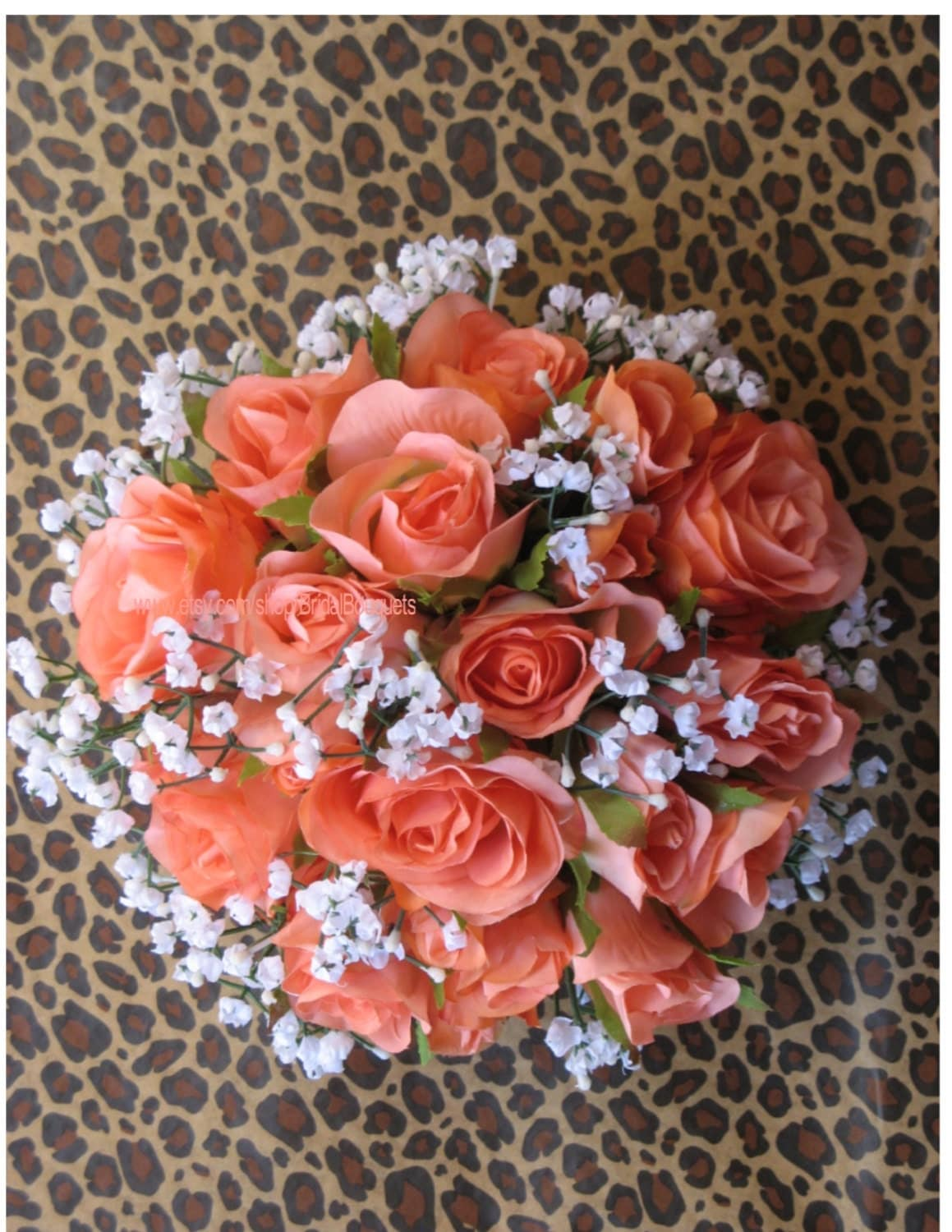 coral colored flowers wedding new custom artificial rustic coral reef bridal bouquet 3056