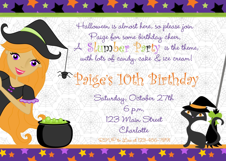 Invitation soirée pyjama Halloween anniversaire Invitation