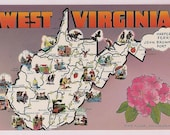 West Virginia Map Postcard - Retro Tourist Map - Vintage Vacation Travel Map Postcard Souvenir from West Virginia