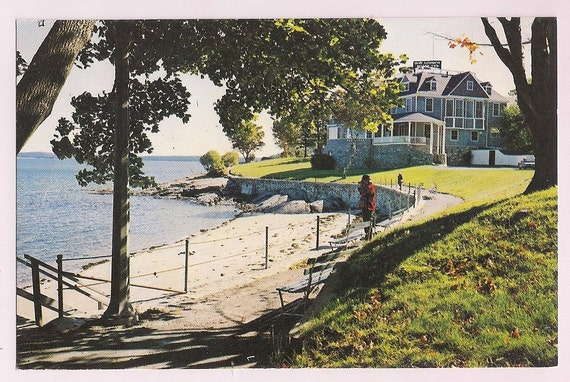 bar harbor maine vintage postcard tourist at by vintagepackrat