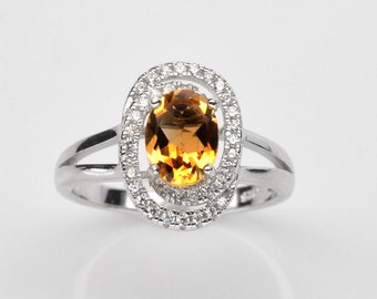 Handmade Natural Gemstone Jewelry, Genuine Yellow Citrine Sterling Silver Ring  FD5C0048 RIS7-CIT565