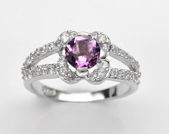 Handmade Natural Gemstone Jewelry, Genuine Purple Amethyst Sterling Silver Ring  FD5C0285  RIS7-PAM195
