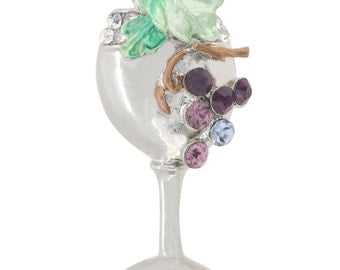 Purple Grapes Wine Glass Brooch 1004771