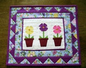 Table Topper Candle Mat Centerpiece Quilted Flowers