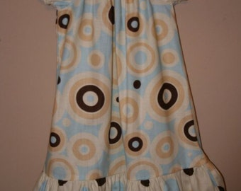 Peasant dress, fall colors blue and brown, READY TO SHIP