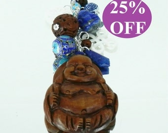 NOW 25% OFF Handcarved Wood Buddha Pendant and Sterling Chain with Lapis, Mother of Pearl, Cloisonne and Vintage Glass