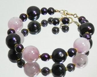 Kunzite and Dark Purple Freshwater Petal Pearl Bracelet