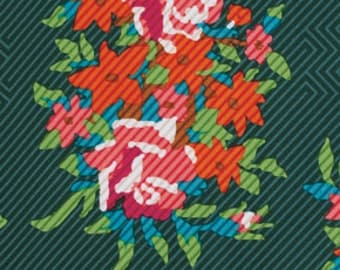 SALE Twill bouquet in evergreen from the Dowry collection by Anna Maria Horner for Free Spirit