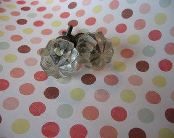 2 Glass Knobs Antique Style Cut Glass Antiqued Glass Antiqued Brass Base Vintage Antique Style Pulls B-24