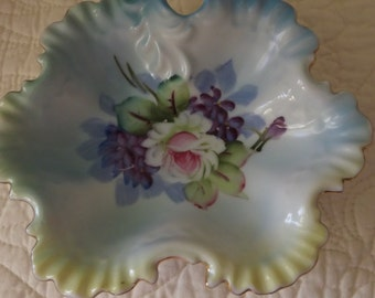Lefton China Hand Painted Trinket Bowl Dish in Green Blue and Pink - Shabby Chic