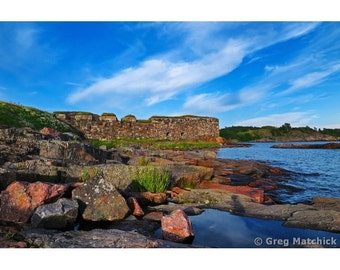 Fine Art Color Photography of Blue Sky and Cirrus Clouds Over the Baltic Coastline of Suomenlinna Island in Finland
