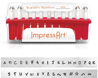 Scarlett's Signature Impressart 2.5 mm Uppercase-Metal Stamp Set-Metal Alphabet Set Plus 6 BONUS Stamps