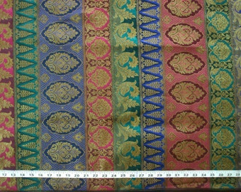 pure silk brocade fabric - multicolored border style brocade in blue pink and peacock green - br067 - 1 yard