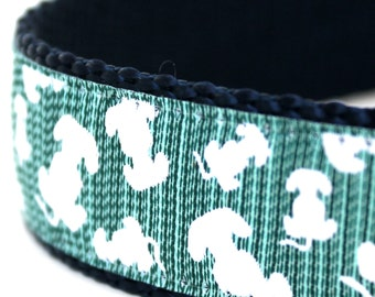 Lots of Puppy Tails Dog Collar, 1 inch width, Big Dog Collar, Green Pet Collar