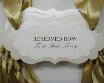 Reserved Wedding Signage Ceremony Seating Pew or Chair Signs to Reserve Seating for the Bride and Groom's Family During the Wedding Ceremony