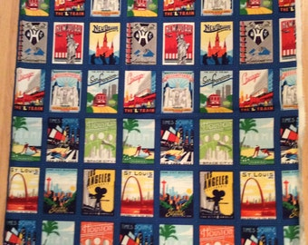 A Wonderful Traveling Across America Blocks Fabric Panel Free US Shipping