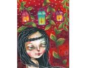 folk art mixed media painting girl original painting 18x24 cms on cradled wood panel  - The lanterns under the vines
