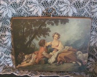 "REDUCED Vtg Victorian ""Musette"" Pastoral Figural Outdoor Setting Print On Wood Tab Top Picture Frame, Francois Boucher"