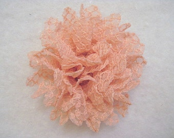 3.5 Inch Large Lace Detail Flower Peach