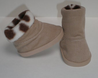 TAN & BROWN CORDUROY Boots 18 inch doll clothes
