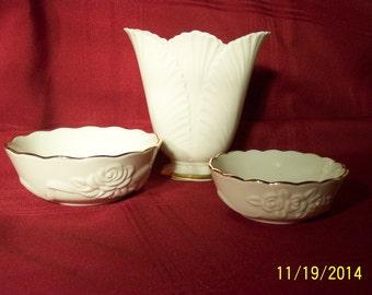 Lenox China Vase and 2 Bowls