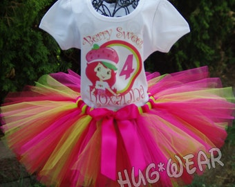 Berry Sweet Strawberry Shortcake Birthday Shirt + Tutu Outfit  Pinks red lime green (any age)