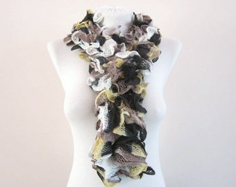 Ruffle Scarf, Knit Frilly Scarf, Yellow Brown Black, Winter Accessory, sashay Ruffled