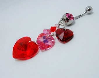 Belly Ring, Belly Ring Hearts, Belly Ring Crystal, Hearts Red Pink  Belly Ring, Valentine Jewelry