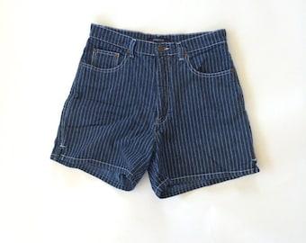 High Waisted Dark Wash Denim Striped Shorts Vintage Bill Blass Jeans Cotton Shorts Small 28 waist Women