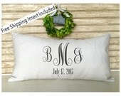Monogrammed Wedding | Anniversary Gift | Rustic Wedding - Throw Pillow - Insert Included - FREE SHIPPING