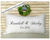 Wedding Anniversary Name Date | Name Throw Pillow - Insert Included