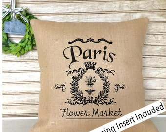 French Rustic Decor | Burlap Pillow | French Country | Insert Included * FREE SHIPPING *