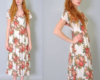 Vintage Floral Dress 80s Fitted Grunge Floral Rose Maxi Dress Full Skirt S M Autumn