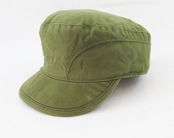 Vintage Danish Army Winter Hat - With Fold Out Ear Flaps - Mens Small