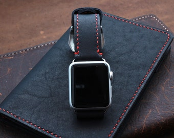 Baseball Glove Black Leather Watch Strap for Apple Watch with Red stitching (personalization available)