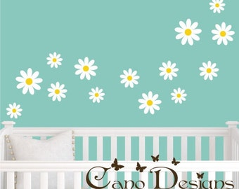 Daisies Reusable Fabric decal set of 14,  Removable, reusable and repositionable fabric decal