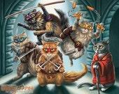Teenage Mutant Ninja Cats - 8x10 art print - Michelangelo, Raphael, Donatello, Leonardo and Master Splinter too!