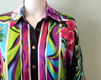 RESERVED Vintage 1980s Cache Silk Abstract Print Dress