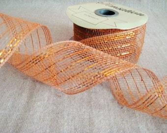 Orange Mesh Ribbon Spool Remnant /Orange Metallic Mesh Ribbon De-Stash Item - 15+ yds