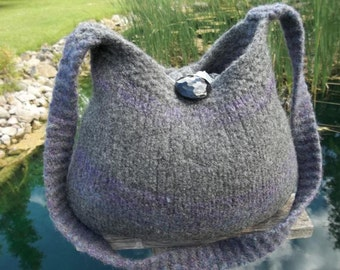 11-1039 handknit felted wool purse tote handbag f.s.
