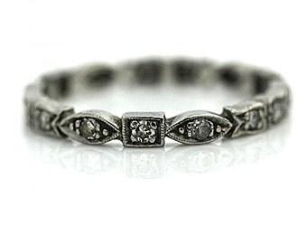 Antique Wedding Band Art Deco Filigree 1920s .45ct Single Cut Diamonds in Platinum Size 6.25!