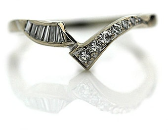 Vintage Insert wedding Band .40ctw Diamond Contoured Insert Wedding Band in 14 Kt White Gold