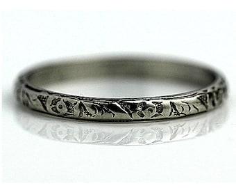 Platinum Antique Filigree Wedding Band Platinum Antique Wedding Ring Art Deco Wedding Band Ring Size 6.75!