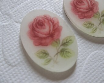 Vintage Decal Picture Stones - Pink Roses on Matte Crystal Mirror Base Cameo -  25 X 18mm Glass Cabochons - Qty 2