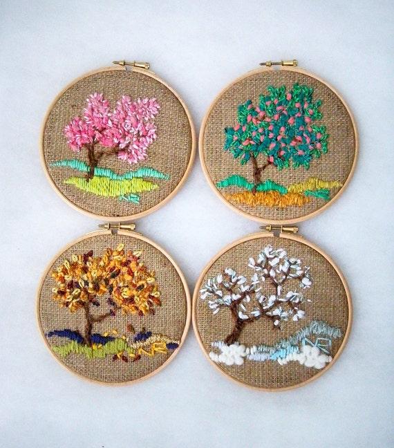 Wall Decor Etsy : Four seasons embroidery hoop wall art by nerina