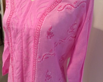 Vintage India Paisley Hand-Embroidered Pink Cotton Tunic Blouse