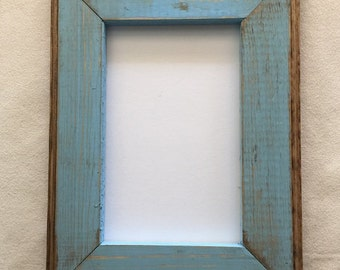 85 x 11 wooden picture frame rustic baby blue weathered style with routed edges rustic home decor rustic wood frames rustic frames