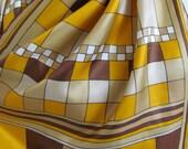 "Beautiful Vintage Orange Brown Soft Silk Scarf - 15"" x 44"" Long"