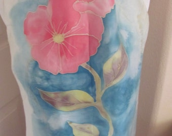Lovely Hand Painted Signed Unique Silk Scarf - 15 x 44 Long