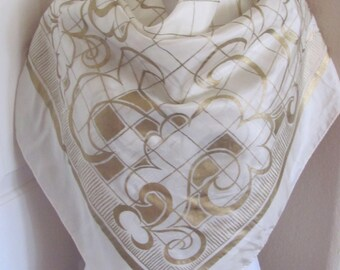 "Off White Painted Gold Large Silk Scarf - 34"" Inch Square - Best of the Best"